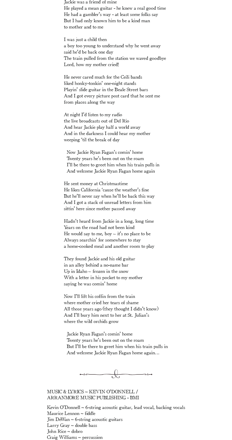 Ballad of Jackie Ryan Fagan Lyrics