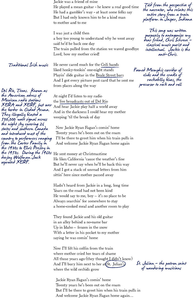 Ballad of Jackie Ryan Fagan Notes