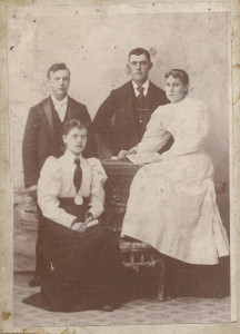 Leonard Fagan and Liam Fagan with their sister brides Nadine and Claudine Smith taken 1910