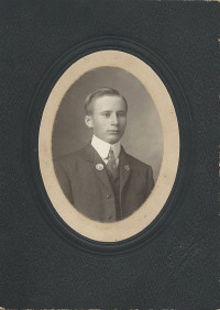 Michael Pendergast college photo 1909 with mouning pin of grandfather John Fagan